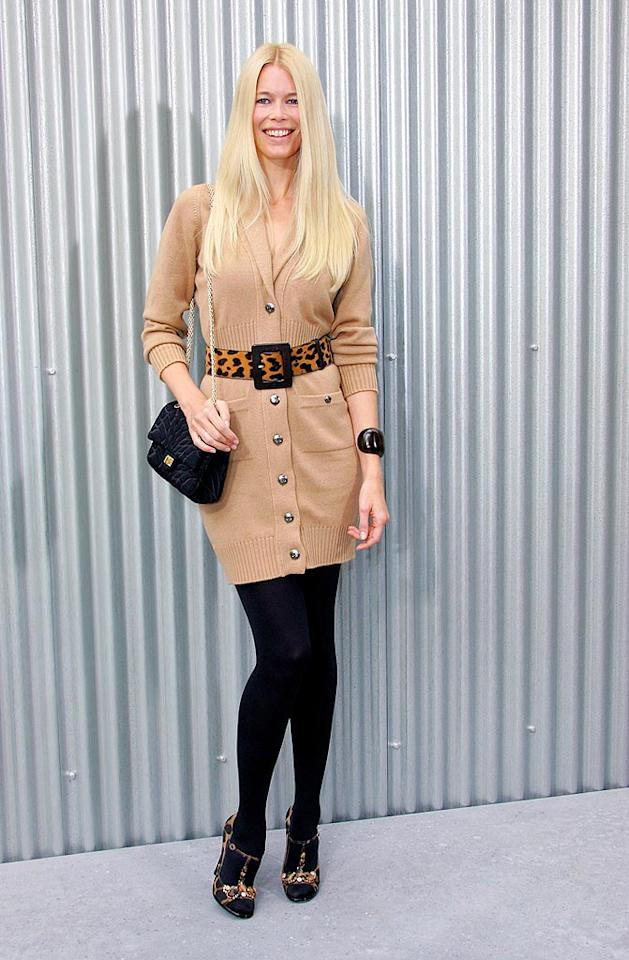 """Model Claudia Schiffer's matronly ensemble is far from fabulous. Tony Barson/<a href=""""http://www.wireimage.com"""" target=""""new"""">WireImage.com</a> - October 3, 2008"""