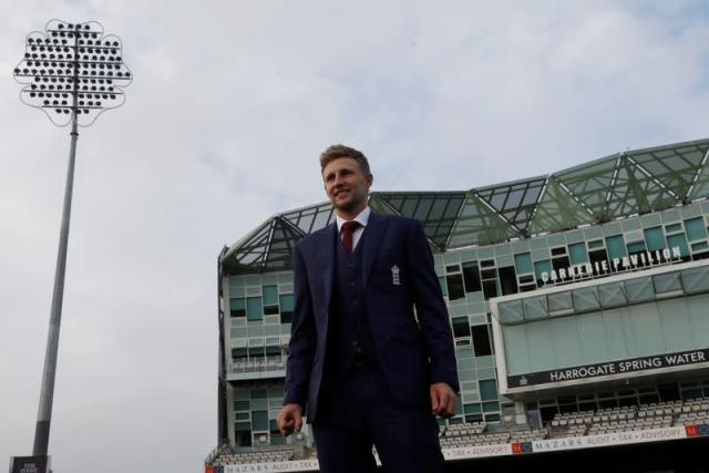 FILE PHOTO: England's Joe Root poses ahead of the press conference