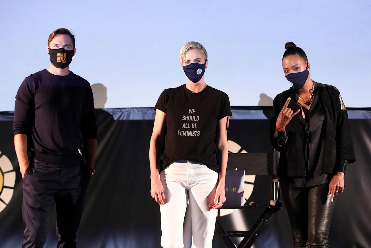 <p>Nicholas Hoult, Charlize Theron and Aisha Tyler appear at the Theron-hosted drive-in screening of <em>Mad Max: Fury Road,</em>sponsored by Heineken 0.0, at The Grovein Los Angeles. The event raised funds for the Charlize Theron Africa Outreach Project.</p>