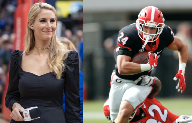 "<a class=""link rapid-noclick-resp"" href=""/ncaaf/players/271863/"" data-ylk=""slk:Prather Hudson"">Prather Hudson</a> tried to get a date with Laura Rutledge. (Rutledge photo via Getty, Hudson photo via AP)"