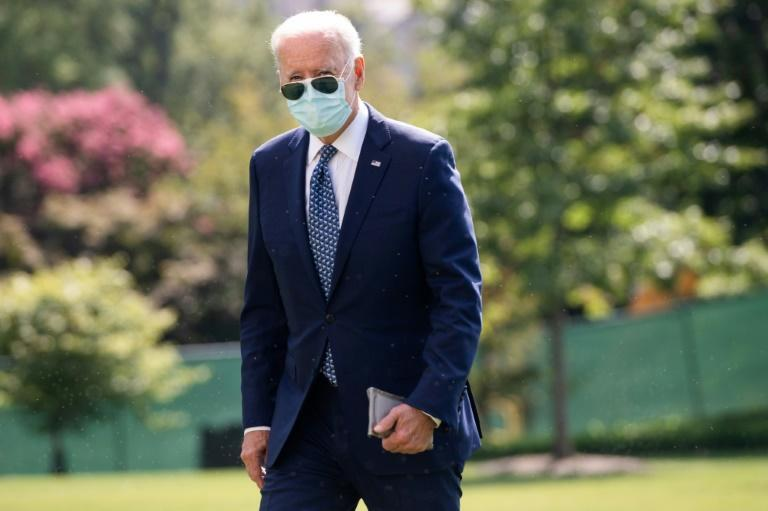 US President Joe Biden has planned talks by telephone with his French counterpart Emmanuel Macron (AFP/SAUL LOEB)