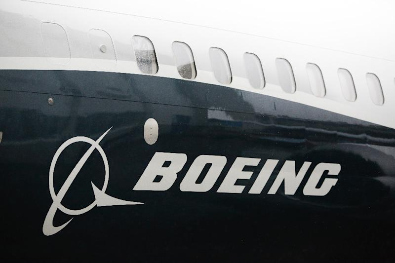 The Boeing logo on the first Boeing 737 MAX 9 airplane is pictured during its rollout for media in March 2017 (AFP Photo/Jason Redmond)