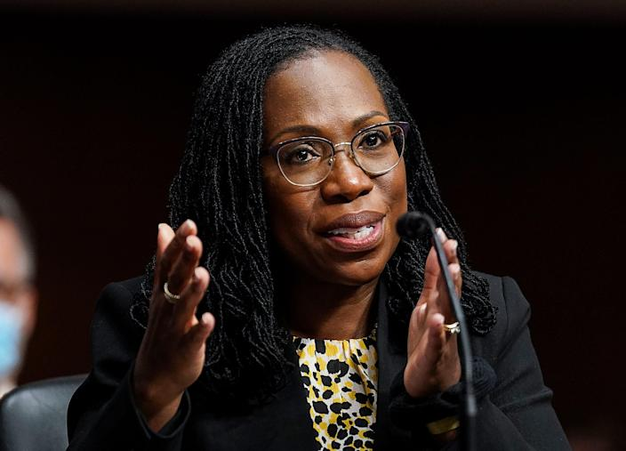 WASHINGTON, DC - APRIL 28: Ketanji Brown Jackson, nominated to be a U.S. Circuit Judge for the District of Columbia Circuit, testifies before a Senate Judiciary Committee hearing on pending judicial nominations on Capitol Hill, April 28, 2021 in Washington, DC. The committee is holding the hearing on pending judicial nominations. (Photo by Kevin Lamarque-Pool/Getty Images) ORG XMIT: 775649358 ORIG FILE ID: 1232577595