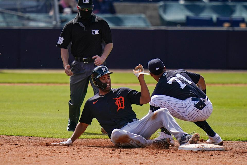 Detroit Tigers' Riley Greene steals second base during the third inning of a spring baseball game against the New York Yankees, Monday, March 1, 2021, in Tampa, Fla.