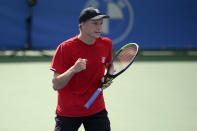 Jenson Brooksby reacts during a match in the Citi Open tennis tournament against Kevin Anderson, of South Africa, Monday, Aug. 2, 2021, in Washington. (AP Photo/Nick Wass)