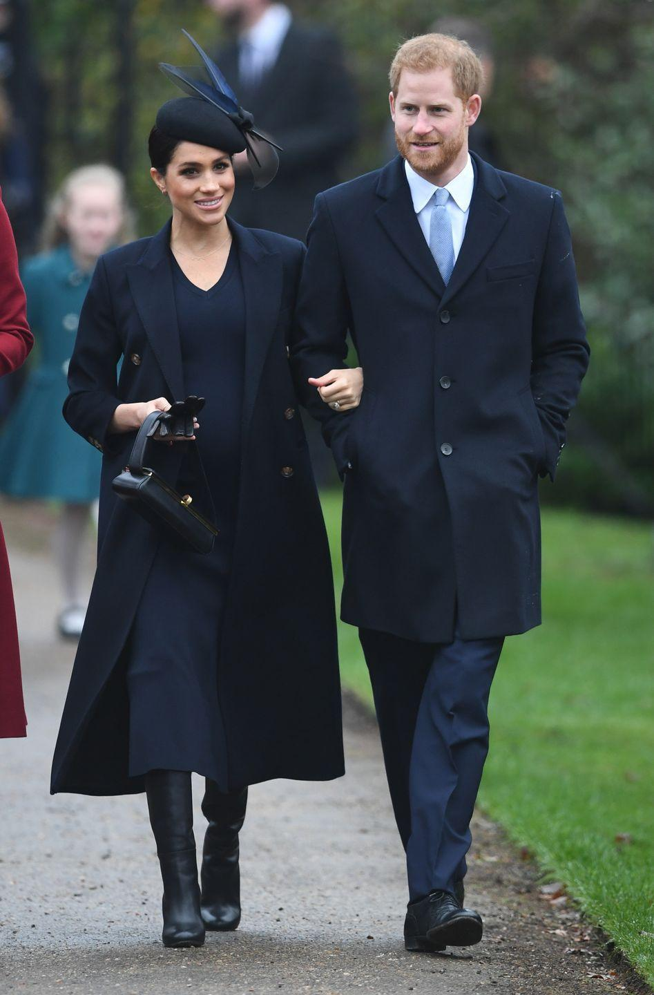 "<p>The Duke and Duchess of Sussex <a href=""https://www.townandcountrymag.com/society/tradition/g24689235/royal-family-christmas-photos/"" rel=""nofollow noopener"" target=""_blank"" data-ylk=""slk:arrived with Prince William and Kate Middleton"" class=""link rapid-noclick-resp"">arrived with Prince William and Kate Middleton</a> to St. Mary Magdalene Church on the Sandringham Estate. </p>"