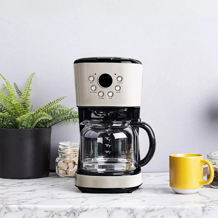 <p>Add a retro touch to your kitchen with the <span>Haden 75028 Innovative Countertop Coffee Maker Machine with Glass Carafe</span> ($75, originally $101). It has a 12 cup capacity!</p>