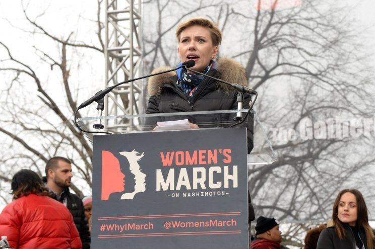 Scarlett Johansson at the Women's March on Washington on Jan. 21. (Photo: Kevin Mazur/WireImage)
