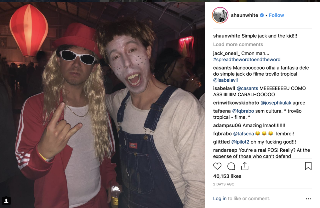 Snowboarder Shaun White chose an unfortunate Halloween costume this year. (screenshot via HuffPost)