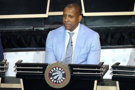 May 17, 2016; New York, NY, USA; Toronto Raptors general manager Masai Ujiri represents his team during the NBA draft lottery at New York Hilton Midtown. The Philadelphia 76ers received the first overall pick in the 2016 draft. Mandatory Credit: Brad Penner-USA TODAY Sports / Reuters Picture Supplied by Action Images