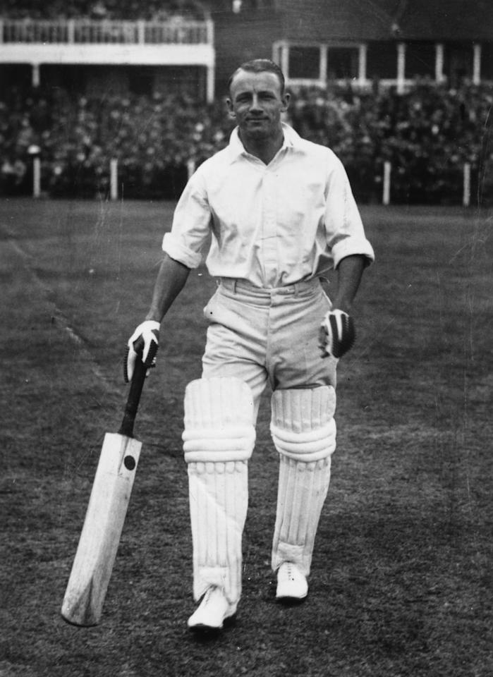 1930:  Australian cricketer Don Bradman (1908 - 2001), perhaps the greatest batsman ever, during an England vs Australia match in Leeds.  (Photo by Central Press/Getty Images)