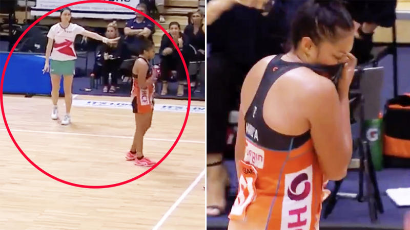Kristiana Manu'a, pictured here after being sent off in the Super Netball.