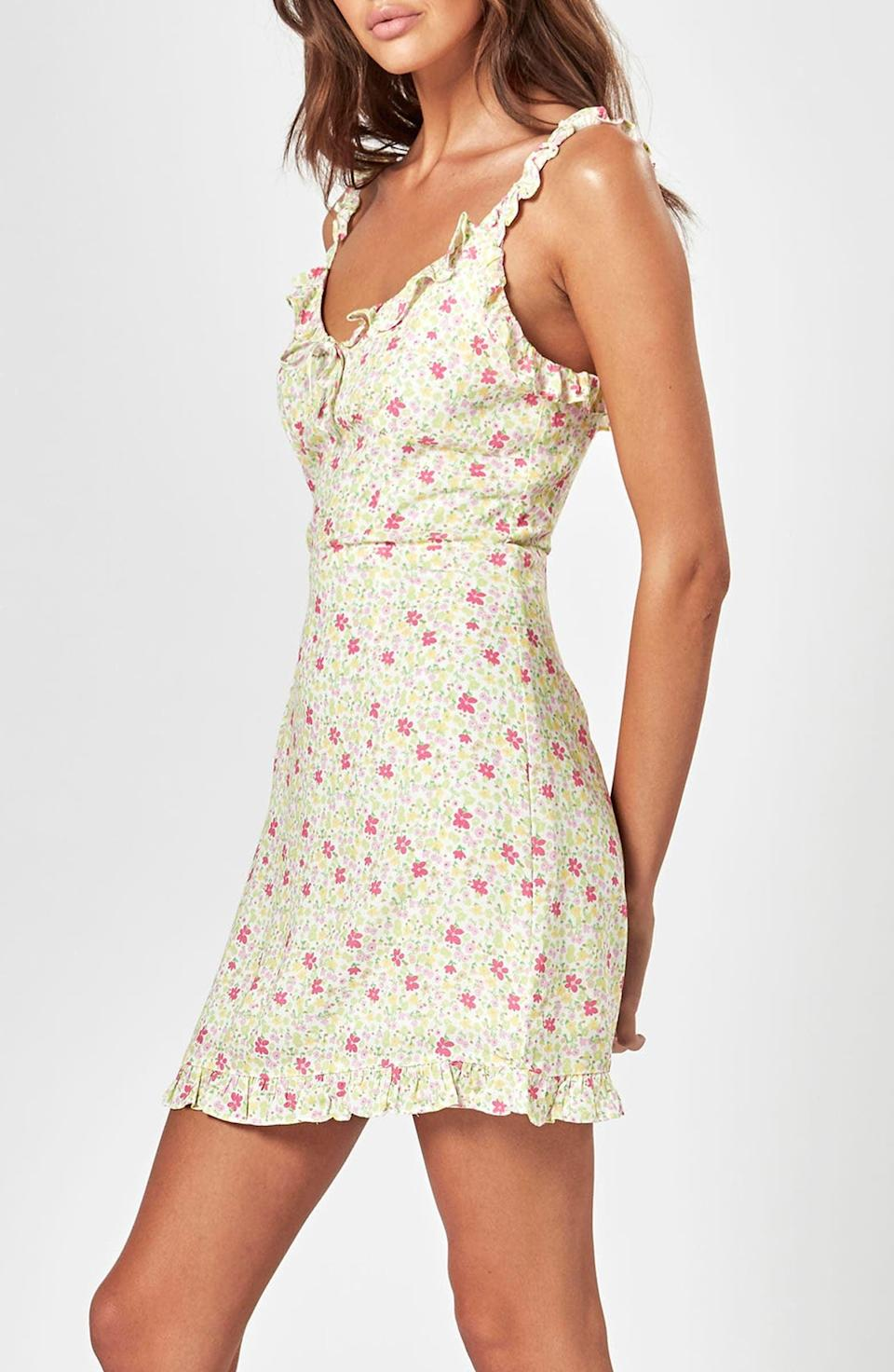 <p>This <span>Charlie Holiday Fable Floral Minidress</span> ($109) looks romantic and sweet thanks to the print, ruffle details, and refined bodice.</p>