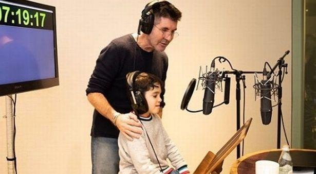 Simon Cowell and Eric in the recording studio. (Simon Cowell/Instagram)