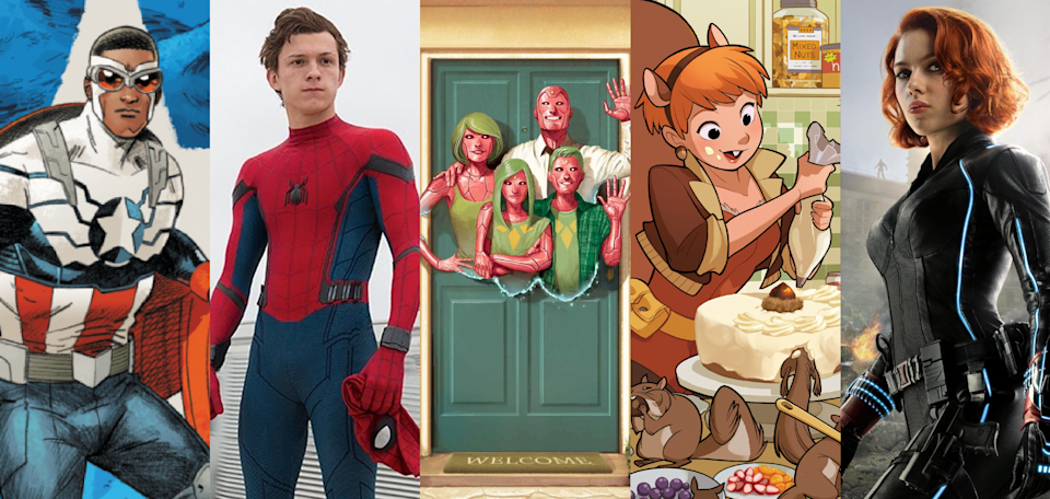 Sam Wilson as Captain America, Tom Holland's Spider-Man, The Visions, Squirrel Girl and Scarlett Johansson's Black Widow. (Credit: Marvel / Sony Pictures)