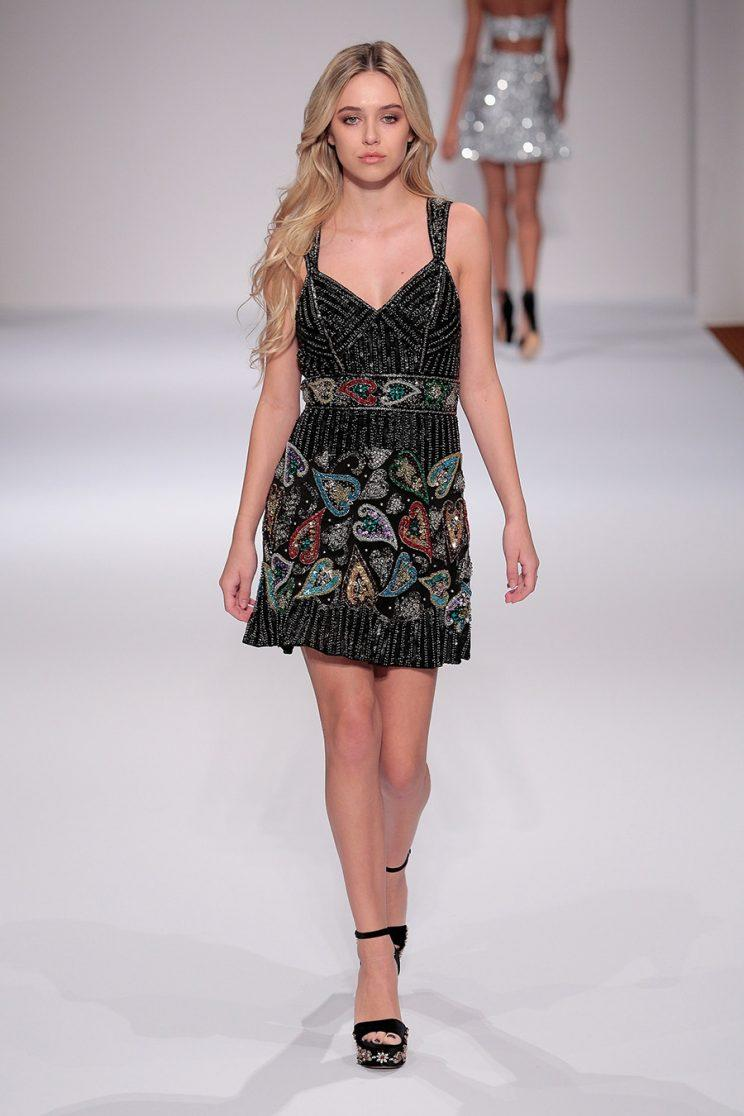 Delilah Hamlin walked the runway at the Sherri Hill NYFW Fall 2017 Runway Show (Photo by Getty Images).