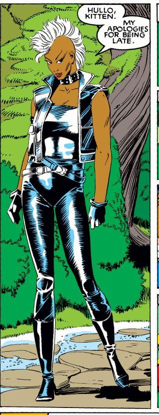 Storm's new look: black leather and a mohawk