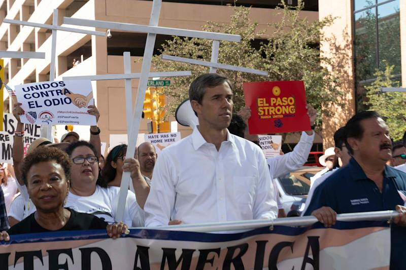 """8/10/19 9:28:57 AM -- El Paso, TX -- Hundreds came to support the """"March for a United America,"""" organized by the League of United Latin American Citizens (LULAC), including Presidential candidate Beto O'Rourke joined a group on Saturday on August 10, 2019. Photo by Nick Oza, Gannett"""