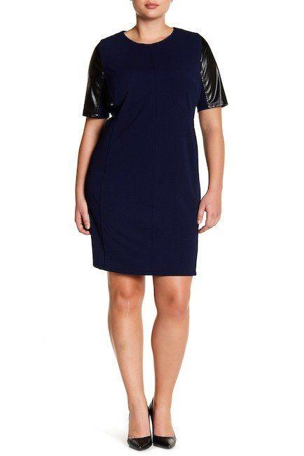 "From <a href=""https://www.nordstromrack.com/shop/product/2182328/alexia-admor-faux-leather-sleeve-shift-dress-plus-size?color=NAVY%2FBLACK"" target=""_blank"">Nordstrom Rack</a>. Comes up to a size 3X."