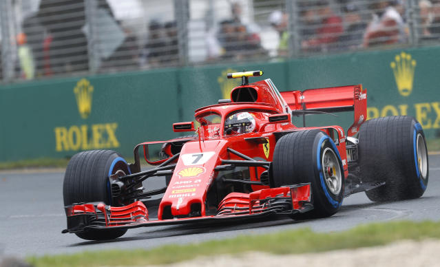 Ferrari driver Kimi Raikkonen of Finland turns a corner during the practice session at the Australian Formula One Grand Prix in Melbourne, Saturday, March 24, 2018. The first race of the 2018 seasons is on Sunday. (AP Photo/Asanka Brendon Ratnayake)