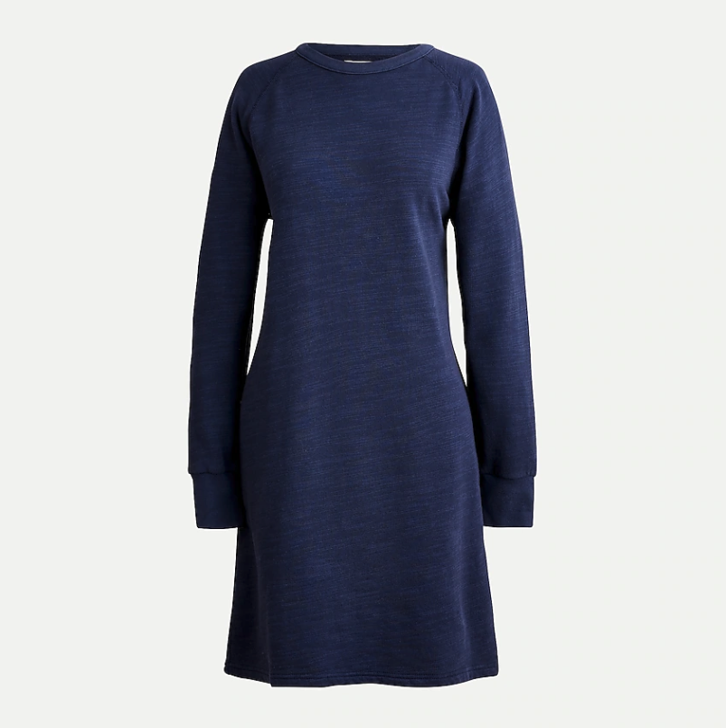 Sweatshirt dress in vintage cotton terry. Image via J.Crew.