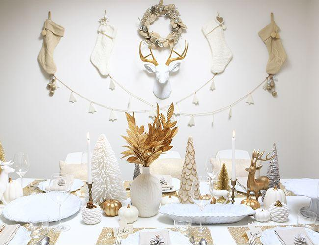 "<p>Want an elegant table that's also fun and modern? Try white and gold everything. Hang some antlers on the wall for a wintry touch.</p><p>See more at <a href=""http://www.inspiredbythis.com/dwell/gold-holiday-party/"" rel=""nofollow noopener"" target=""_blank"" data-ylk=""slk:Inspired by This"" class=""link rapid-noclick-resp"">Inspired by This</a>.</p>"