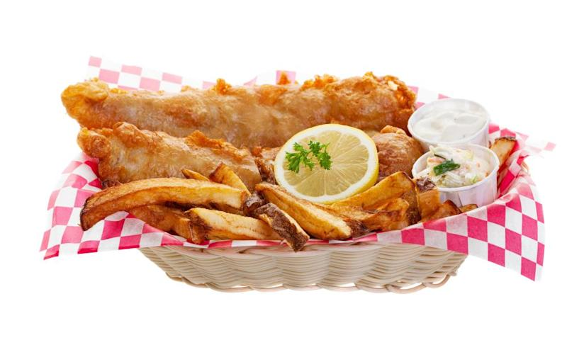Traditional fish and chips.