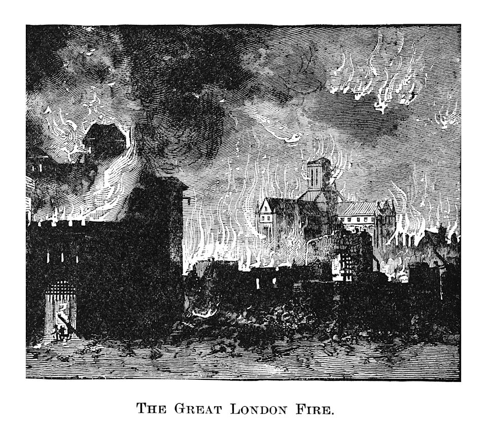 Copyright has expired on this artwork. From my own archives, digitally restored. The Great Fire of London was a major conflagration that swept through the central parts of London from Sunday, 2 September to Thursday, 6 September 1666. The fire gutted the medieval City of London inside the old Roman city wall.