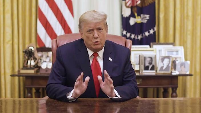 <p>Trump has released his first video message after the impeachment </p> (via REUTERS)