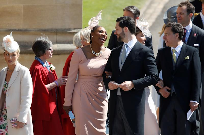 Meghan Markle's friend, US tennis player Serena Williams (CL) and her husband US entrepreneur Alexis Ohanian (CR) arrive for the wedding ceremony of Britain's Prince Harry, Duke of Sussex and US actress Meghan Markle at St George's Chapel, Windsor Castle, in Windsor, on May 19, 2018. Odd ANDERSEN/Pool via REUTERS