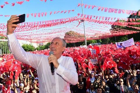Muharrem Ince is Mr Erdogan's main opponent in the elections - Credit: Ziya Koseoglu/CHP Press Service via AP, Pool