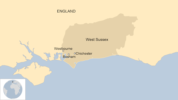 A map showing where Westbourne is in West Sussex