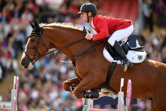 Equestrian - FEI European Championships 2017 - Jumping Individual Final - Ullevi Stadium, Gothenburg, Sweden - August 27, 2017 - Marcus Ehning of Germany on his horse Pret A Tout jumps. TT News Agency/Pontus Lundahl via REUTERS ATTENTION EDITORS - THIS IMAGE WAS PROVIDED BY A THIRD PARTY. SWEDEN OUT. NO COMMERCIAL OR EDITORIAL SALES IN SWEDEN