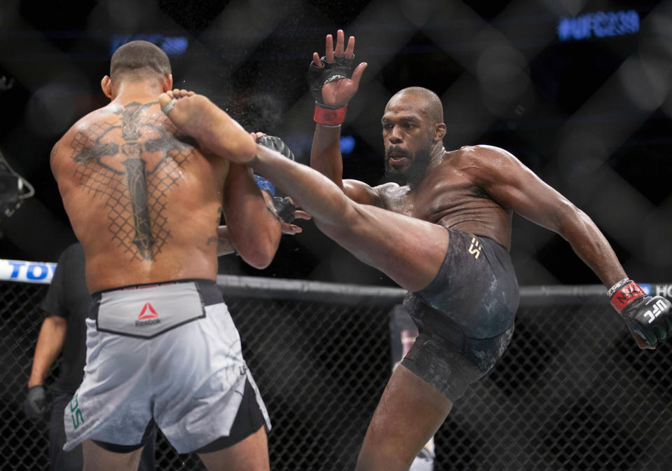 Jon Jones won arguably the closest fight of his career earlier this year. (AP Photo/Eric Jamison)