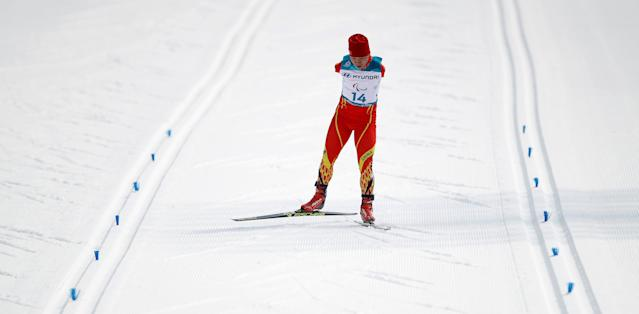 Cross-Country Skiing - Pyeongchang 2018 Winter Paralympics - Men's 20km Free - Standing - Alpensia Biathlon Centre - Pyeongchang, South Korea - March 12, 2018 - Du Haitao of China competes. REUTERS/Carl Recine