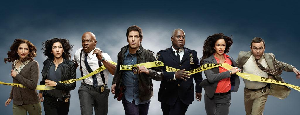 """Brooklyn Nine-Nine"": From Emmy Award-winning writer/producers of ""Parks and Recreation"" and starring Emmy Award winners Andy Samberg (C) and Andre Braugher (third from R), ""Brooklyn Nine-Nine"" is a new single-camera workplace comedy about what happens when a hotshot detective (Samberg) gets a new Captain (Braugher) with a lot to prove ""Brooklyn Nine-Nine"" premieres this fall on FOX. Also pictured L-R: Chelsea Peretti, Stephanie Beatriz, Terry Crews, Melissa Fumero and Joe Lo Truglio."
