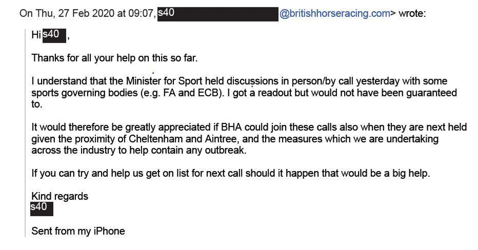 Excerpt of an email from the BHA to DCMS, obtained by PA under a Freedom of Information request