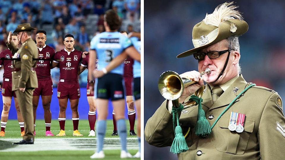 Corporal John Byrne (pictured right) plays the bugle during the Remembrance Day Ceremony and the State of Origin teams link-up (pictured right).