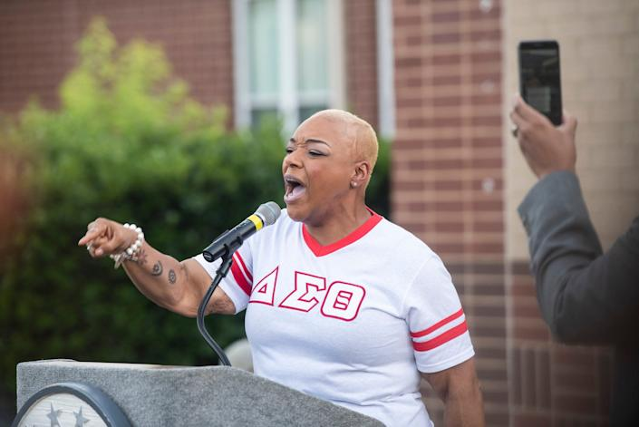 Michelle Summers speaks during a press conference at E.D. Nixon Elementary School in Montgomery, Ala., on Monday, June 1, 2020.