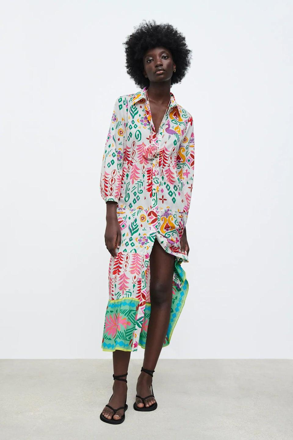 """<p>The eye-catching print and feminine silhouette of this <span>Printed Shirtdress</span> ($70) make it a worthy addition to our vacation wardrobe. It'll make everyone ask, """"Where did you get that?""""</p>"""