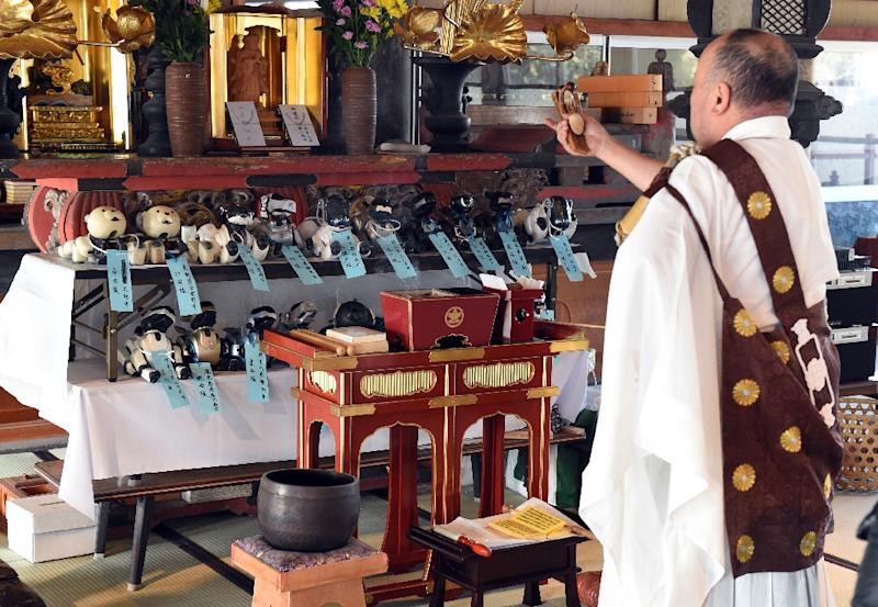 Kofuku-ji temple chief priest Bungen Oi (R) offers a prayer during the funeral for 19 Sony's pet robot AIBOs, in Isumi, Japan's Chiba prefecture (AFP Photo/Toshifumi Kitamura)