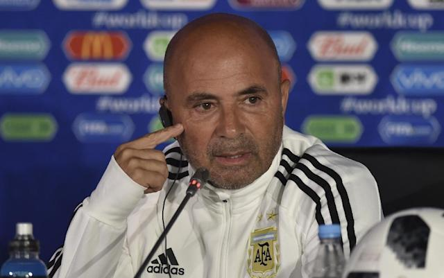 Argentina coach Jorge Sampaoli attends a press conference in Moscow (AFP Photo/YURI CORTEZ)