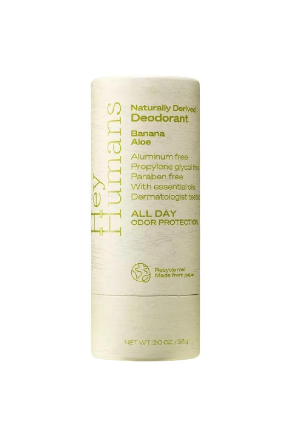 "<p><strong>Hey Humans</strong></p><p>target.com</p><p><strong>$4.99</strong></p><p><a href=""https://www.target.com/p/hey-humans-natural-deodorant-banana-aloe-2oz/-/A-80585798"" rel=""nofollow noopener"" target=""_blank"" data-ylk=""slk:SHOP IT"" class=""link rapid-noclick-resp"">SHOP IT</a></p><p>Jada Pinkett Smith's personal care product line is...excellent! (And plastic-free, with every single bit of packaging 99 percent recyclable or 100 percent biodegradable.) This naturally-derived deodorant is vegan and free of parabens and aluminums, but it's the scents that's really hit. Banana aloe, rosewater ginger or apple matcha? Don't mind if I do. </p>"