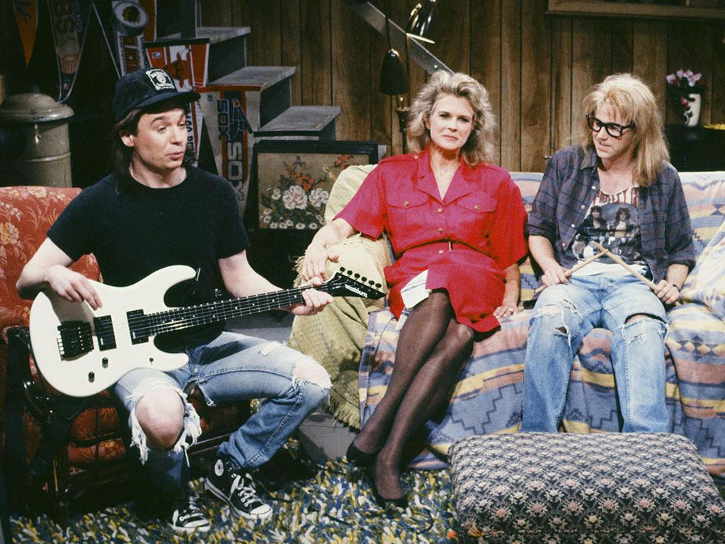 SATURDAY NIGHT LIVE -- Episode 20 -- Pictured: (l-r) Mike Myers as Wayne Campbell, Candice Bergen as Hillary Algar, Dana Carvey as Garth Algar during the 'Wayne's World' skit on May 19, 1990 -- Photo by: Raymond Bonar/NBCU Photo Bank