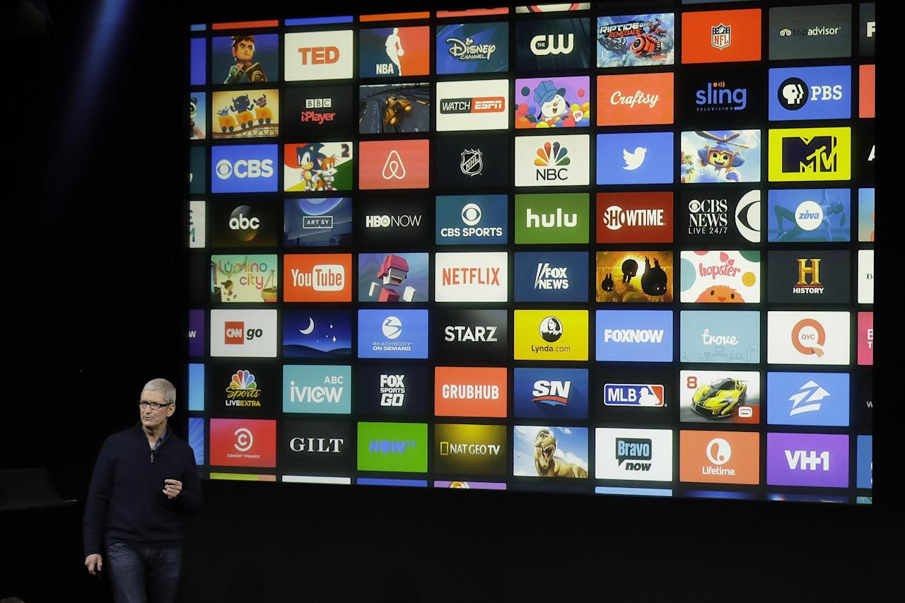 Apple CEO Tim Cook speaks about Apple TV during an announcement of new products Thursday, Oct. 27, 2016, in Cupertino, Calif. (AP Photo/Marcio Jose Sanchez)