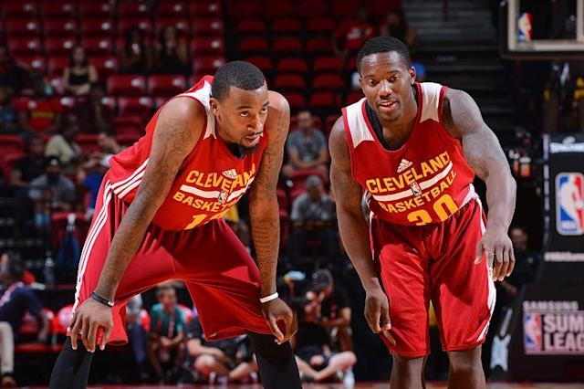 Jordan McRae (left) and Kay Felder face an uphill climb to earn minutes on the defending champs. (Getty Images)