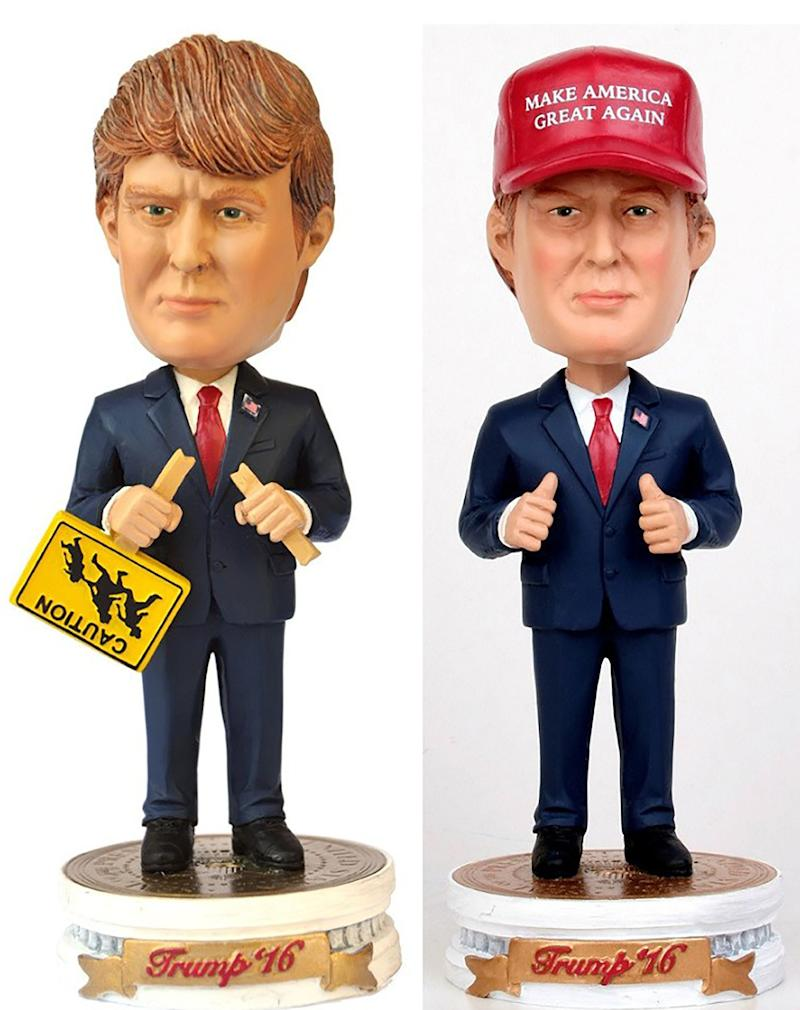"Usually, bobblehead dolls have big heads over tiny bodies. The problem with making a <a href=""http://trumpbobblehead.com/"" target=""_blank"">Trump bobblehead doll </a>is that no one is as big-headed as ""The Donald."" No matter what they do, the head will never be bigger than the real Trump's noggin. ($24.95 each, $39.95 for pair)"