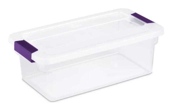 Sterilite 6 Qt Clear View Box Clear with Latches Purple
