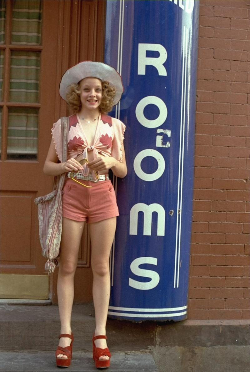 """FILE - In this publicity file photo provided by Columbia Pictures, Jodie Foster portrays a 12-year-old prostitute in the 1976 movie """"Taxi Driver,"""" which was directed by Martin Scorsese. (AP Photo/Columbia Pictures, File)"""