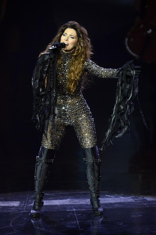 """LAS VEGAS, NV - DECEMBER 01:  Singer Shania Twain performs during the debut of her residency show """"Shania: Still the One"""" at The Colosseum at Caesars Palace on December 1, 2012 in Las Vegas, Nevada.  (Photo by Jeff Bottari/Getty Images)"""